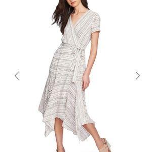 NWT! 1. State Wrap Midi Dress (White/sand; Size 2)